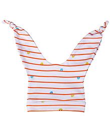 Babyhug Double Knot Cap Stripes Print - White And Orange