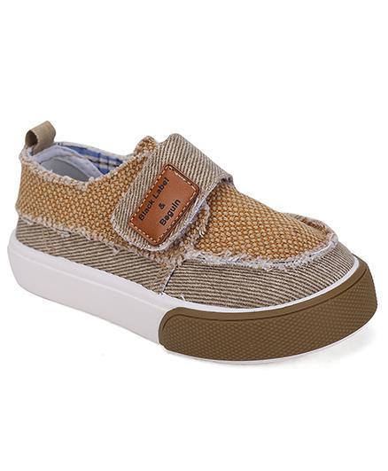 Cute Walk Casual Shoes Velcro Closure - Coffee Brown
