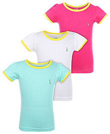 Babyhug Short Sleeves T-Shirts  Pack Of 3 - Fuchsia Sea Green White
