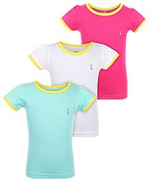 Babyhug Short Sleeves T-Shirts  Pack Of 3 - Fuchsia Sea Green White