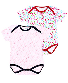 Babyhug Set Of 2 Half Sleeves Onesies - Blue And Pink