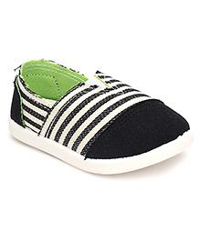 Cute Walk Casual Slip-On Shoes Stripes - Black