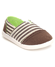 Cute Walk Casual Slip-On Shoes Stripes - Coffee Brown