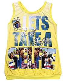 Little Kangaroos Sleeveless Racer Back Top Caption Print - Yellow