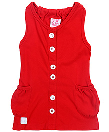Little Kangaroos Sleeveless Top With Contrast Buttons - Red