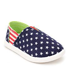 Cute Walk Casual Slip-On Shoes Star Print - Navy Blue