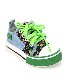 Cute Walk Sneakers Lace Tie Up Floral Design - Green