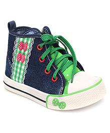 Cute Walk Sneaker Shoes Polka Dot Print - Navy And Green