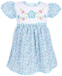 Babyhug Half Sleeves Frock Floral Embroidery - Blue