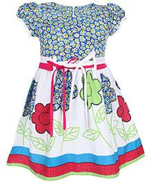 Babyhug Short Sleeves Frock Floral Print - Multi Color