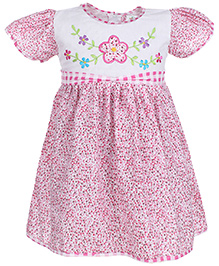 Babyhug Half Sleeves Frock Floral Embroidery - Pink