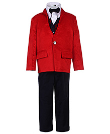 Babyhug 5 Piece Party Suit - Red And White