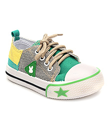 Cute Walk Sneakers Lace Tie Up - Khaki And Green