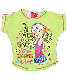 Little Kangaroos Half Sleeves Top Music Play Print - Light Green