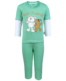 Child World Full Sleeves T-Shirt And Pant Set Embroidered - Light Green