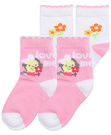 Little's Socks Floral Design Pair Of 2 - White And Pink