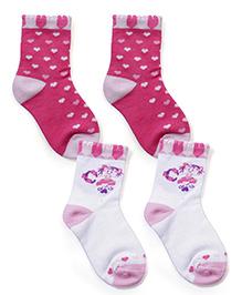 Little's Designer Heart Print Socks Pack Of 2 - Pink & White