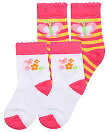 Little's Socks Floral And Butterfly Design Pair Of 2 - White Pink Yellow