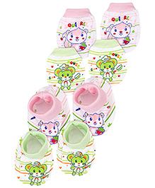 Babyhug Animal Design Mittens And Booties Set Pack of 2 - Green Pink