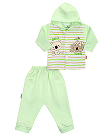 Child World Hooded T-Shirt And Leggings Set Stripes - Green