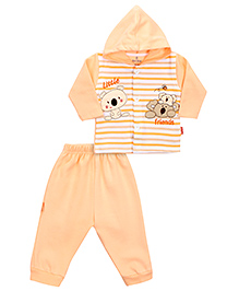 Child World Hooded T-Shirt And Leggings Set Stripes - Peach