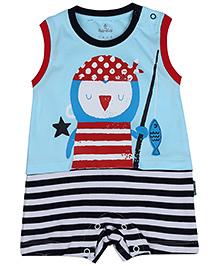 Child World Sleeveless Romper Stripes Print - Navy And Aqua Blue