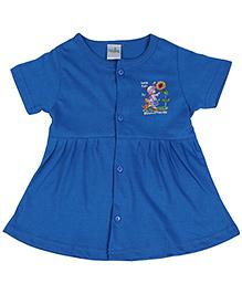 Babyhug Half Sleeves Front Open Frock Miracles Print - Blue