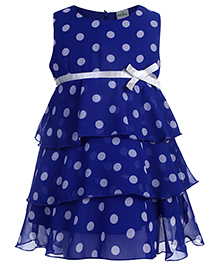 Babyhug Sleeveless Layered Frock Polka Dot Pattern - Royal Blue