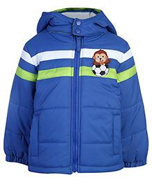 Babyhug Full Sleeves Hooded Jacket Logo Patch - Blue