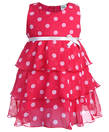 Babyhug Sleeveless Layered Frock Polka Dot Pattern - Fuchsia