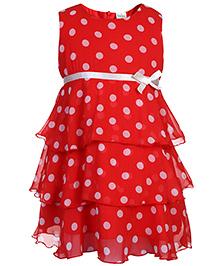 Babyhug Sleeveless Layered Frock Polka Dot Pattern - Red