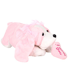 Play And Pets Floppy Dog Soft Toy With Heart Pink - Height 33 Cm
