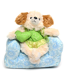 Play And Pets Dog Soft Toy With Sofa Blue - Height 9 Inch