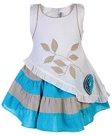 Babyhug Asymmetric Pattern Party Frock - Aqua And Off White