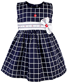 Babyhug Sleeveless Plaid Frock With Bow - Navy Blue