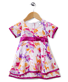 Babyhug Short Sleeves Party Frock Floral Design - White And Pink
