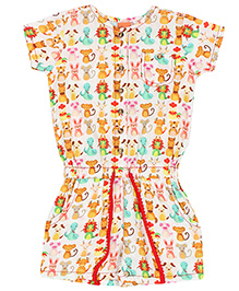 Yellow Duck Allover Animals Print Jumpsuit - White