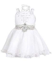 Babyhug Singlet Lace Frock With Diamond Work - White