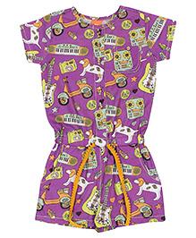 Yellow Duck Allover Multi Print Jumpsuit - Purple