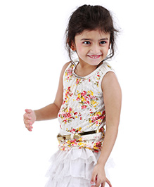 Babyhug Sleeveless Lace Top With Belt Floral Print - White And Red