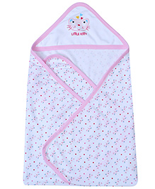 1st Step Baby Hooded Towel Kitty Face Print - Light Pink