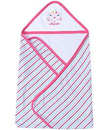 1st Step Baby Hooded Towel Stripes - Dark Pink