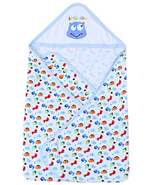 1st Step Baby Hooded Towel Dinosaur Print - Light Blue