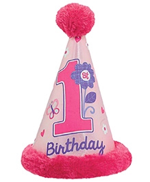 Wanna Party First Birthday Girl Cone Faux Hat - Pink
