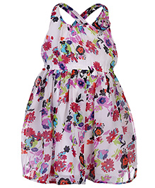 Babyhug Sleeveless Party Wear Frock Floral Applique - Multi Color