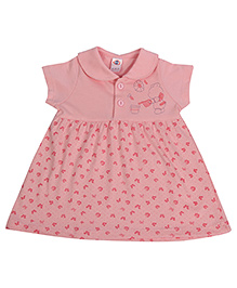 Zero Collar Neck Frock Butterfly And Teddy Print - Pink