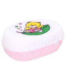 Baby Bath Sponge Teddy Print - White And Pink