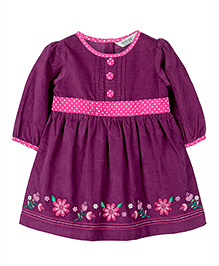 Beebay Embroidery Corduroy Dress - Purple