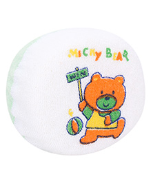 Baby Bath Sponge Micky Bear Print - White And Green