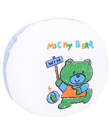 Baby Bath Sponge Micky Bear Print - White And Blue